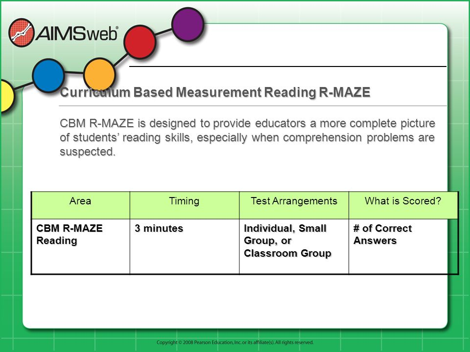 Curriculum Based Measurement Reading R-MAZE