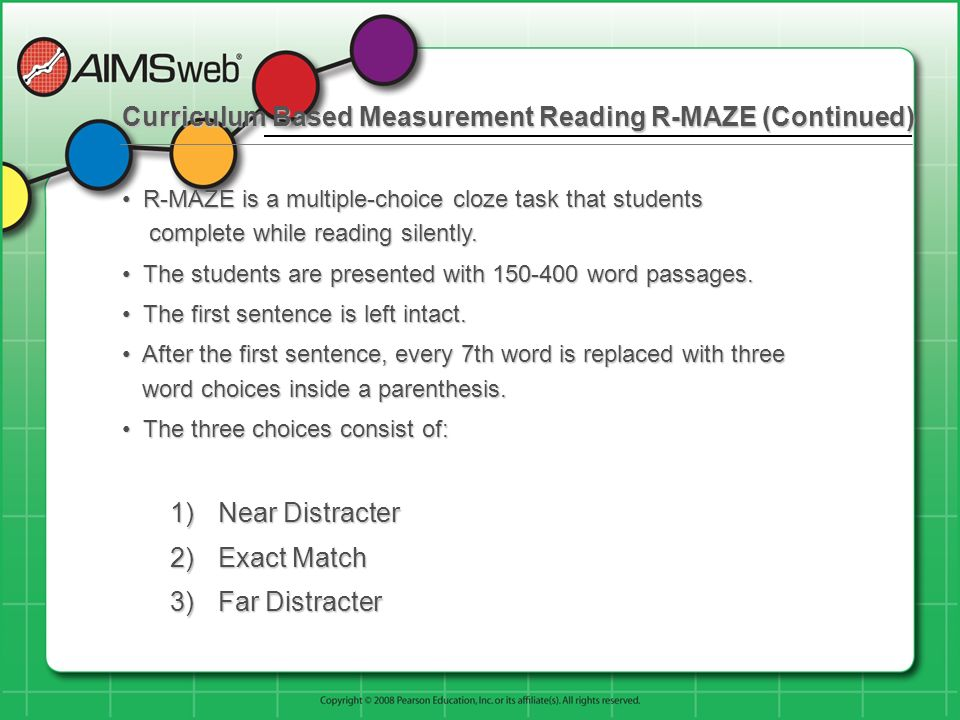 Curriculum Based Measurement Reading R-MAZE (Continued)