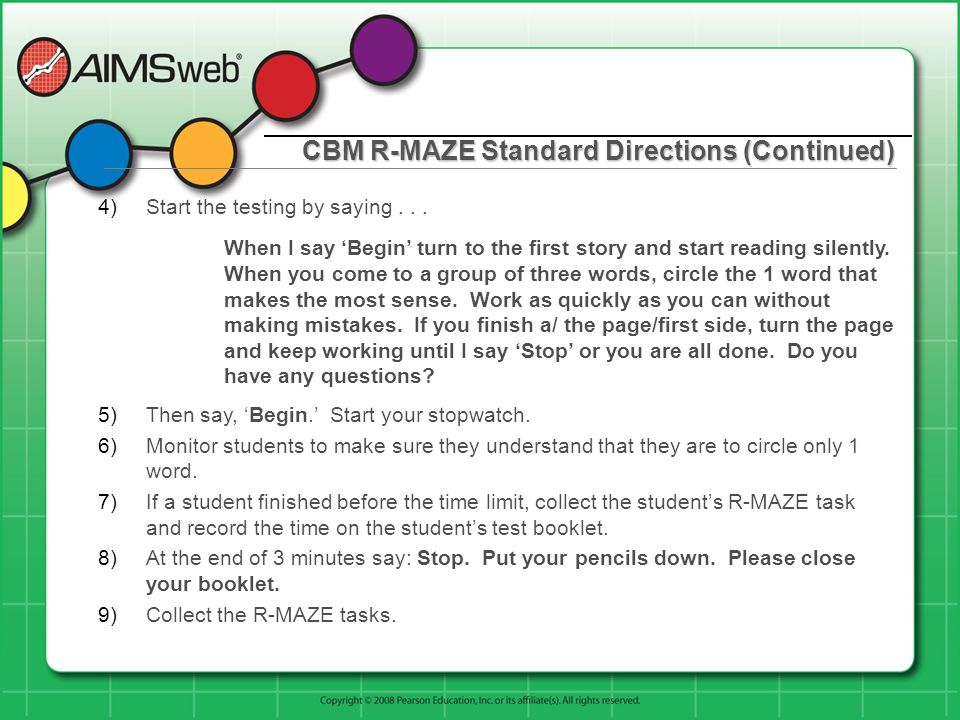 CBM R-MAZE Standard Directions (Continued)