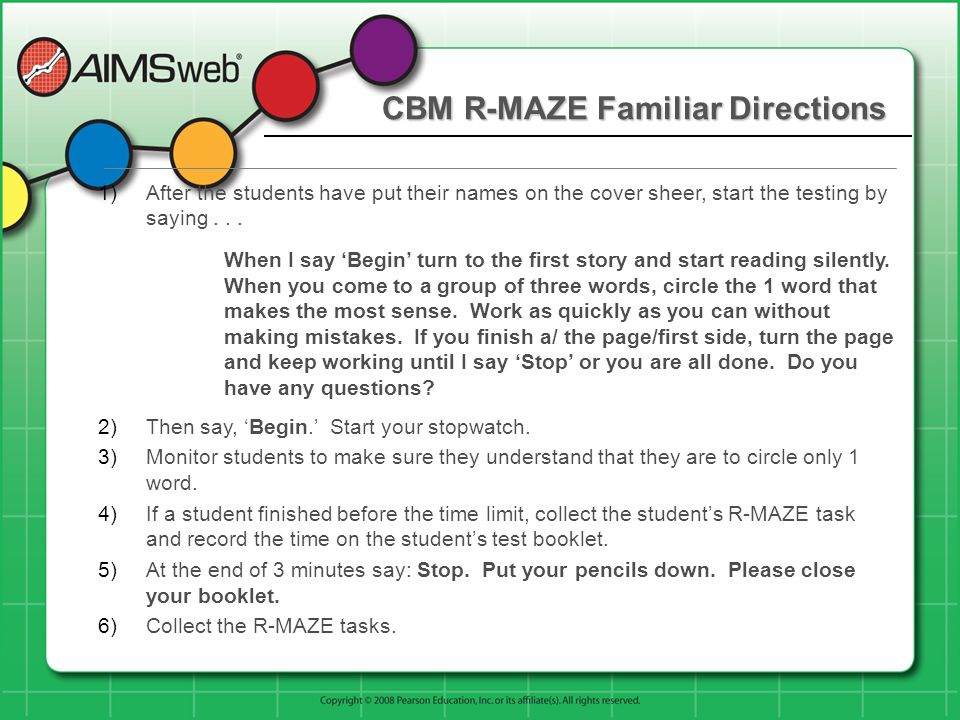 CBM R-MAZE Familiar Directions