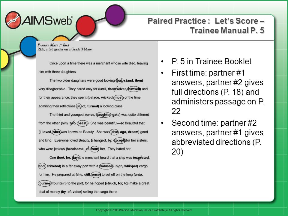 Paired Practice : Let's Score – Trainee Manual P. 5