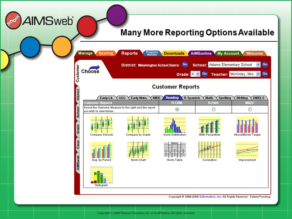 Many More Reporting Options Available