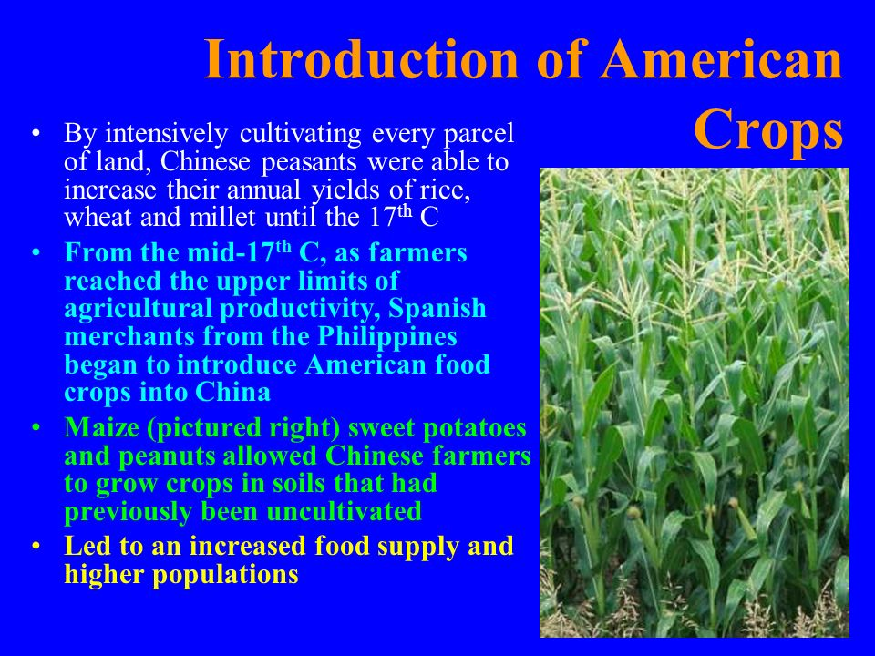 Introduction of American Crops
