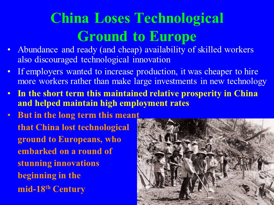 China Loses Technological Ground to Europe