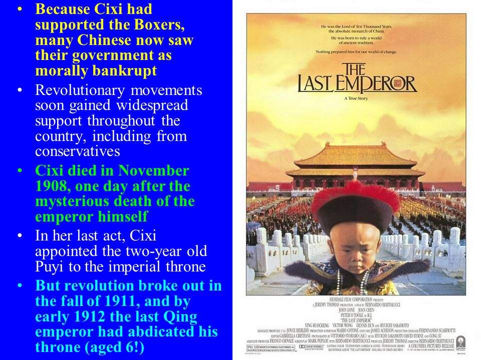 Because Cixi had supported the Boxers, many Chinese now saw their government as morally bankrupt