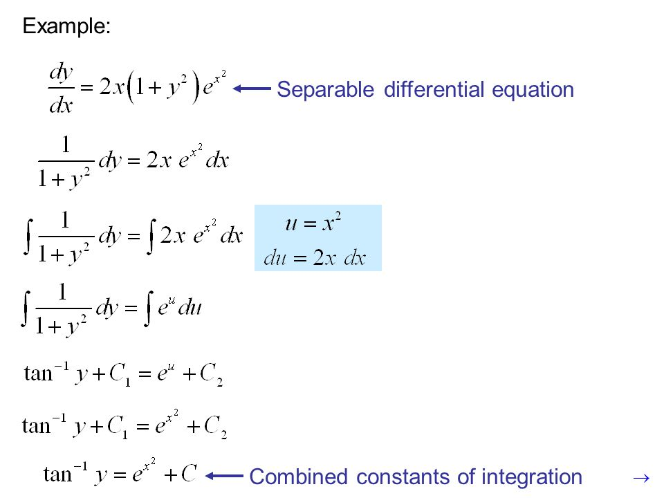 Example: Separable differential equation Combined constants of integration