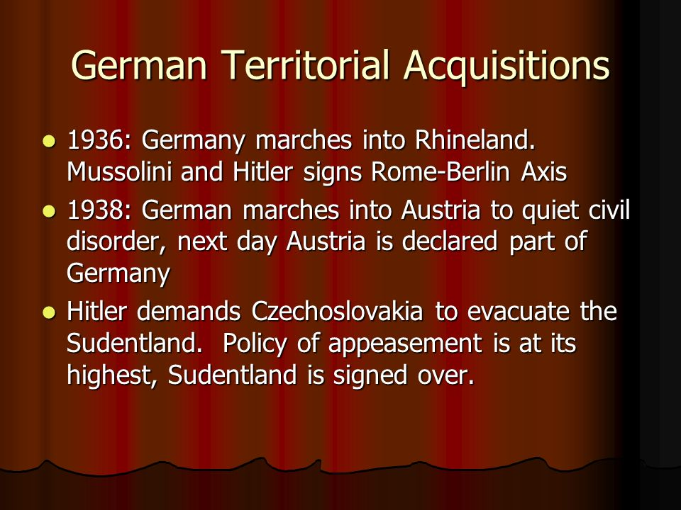 German Territorial Acquisitions