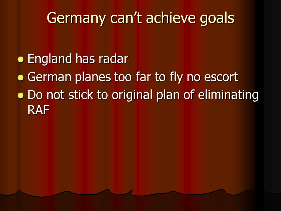 Germany can't achieve goals