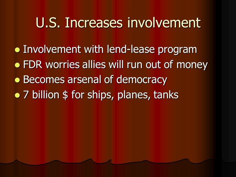 U.S. Increases involvement