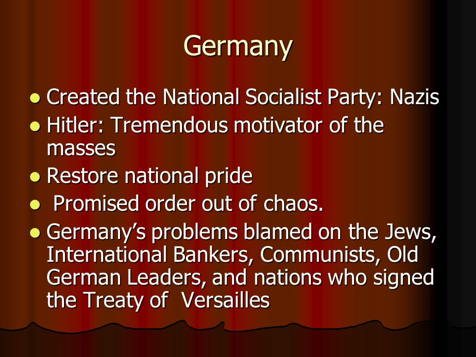Germany Created the National Socialist Party: Nazis