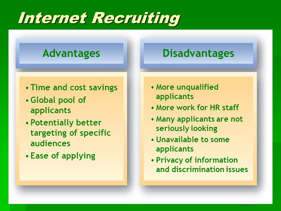 advantages and disadvantages of online recruitment Advantages and disadvantages of social media recruiting march 16, 2017 / admin / general, outsourcing, recruitment, rpo, social media social media has become a tool that recruiters must use these days.