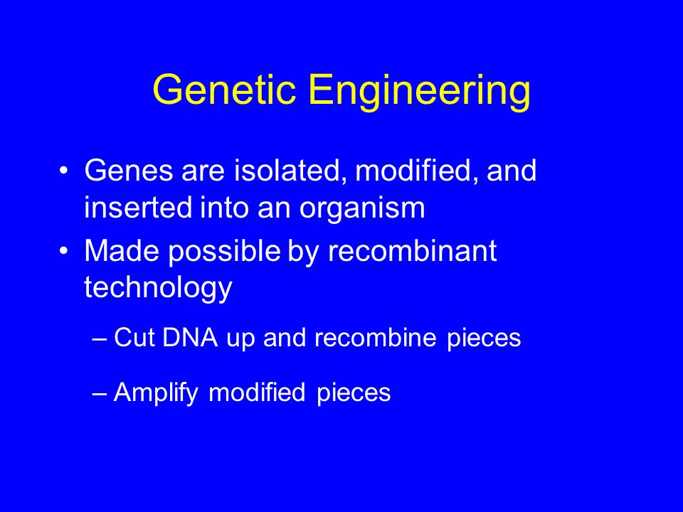 Genetic Engineering Genes are isolated, modified, and inserted into an organism. Made possible by recombinant technology.