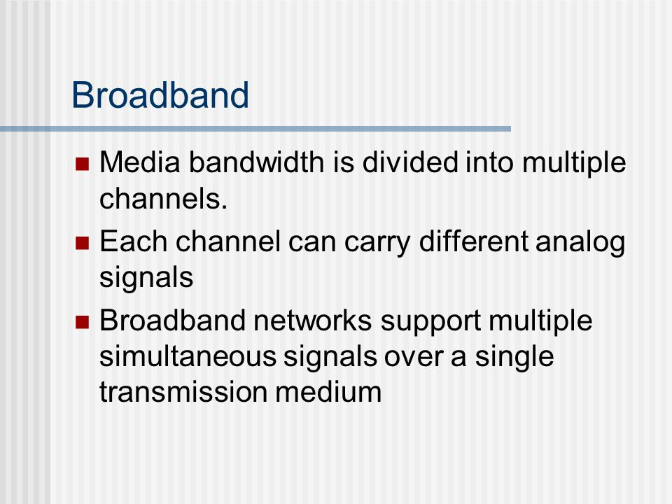 Broadband Media bandwidth is divided into multiple channels.