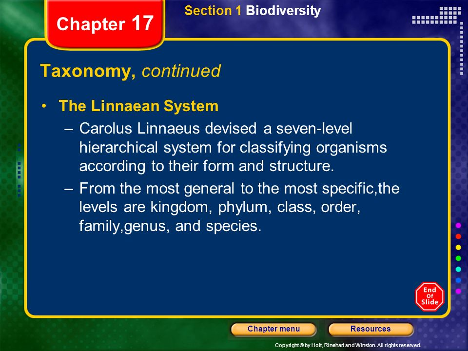 Chapter 17 Taxonomy, continued The Linnaean System