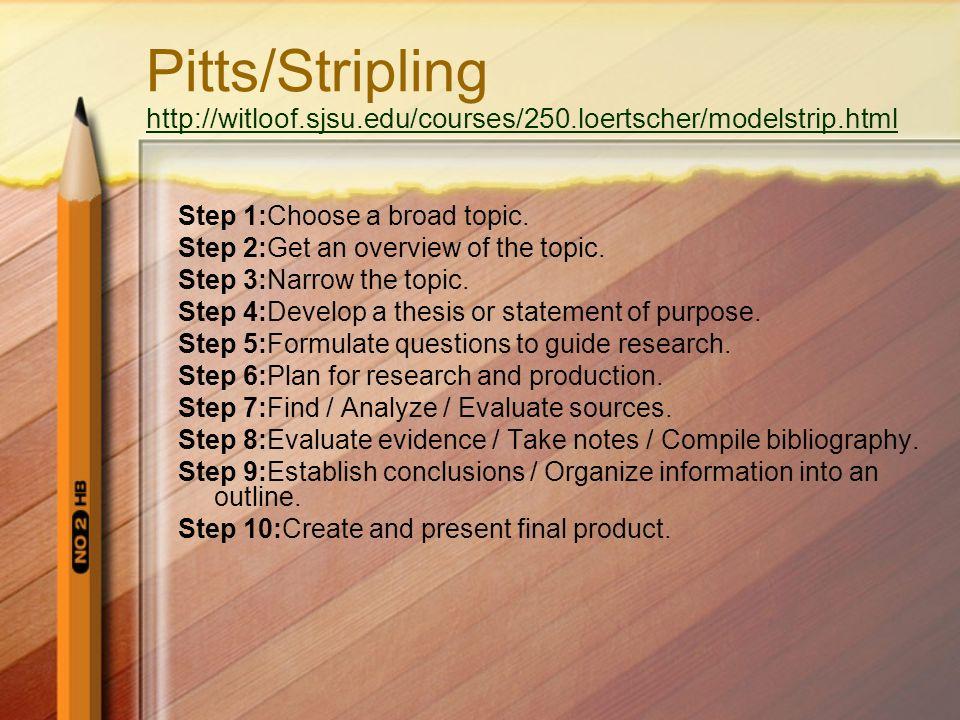 Pitts/Stripling http://witloof. sjsu. edu/courses/250
