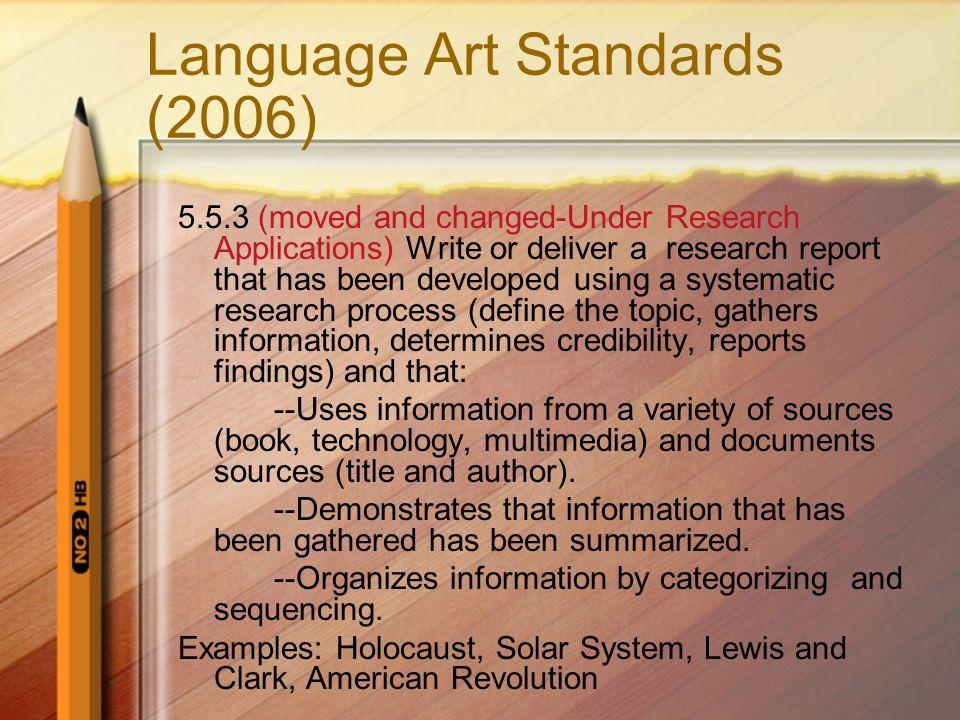Language Art Standards (2006)