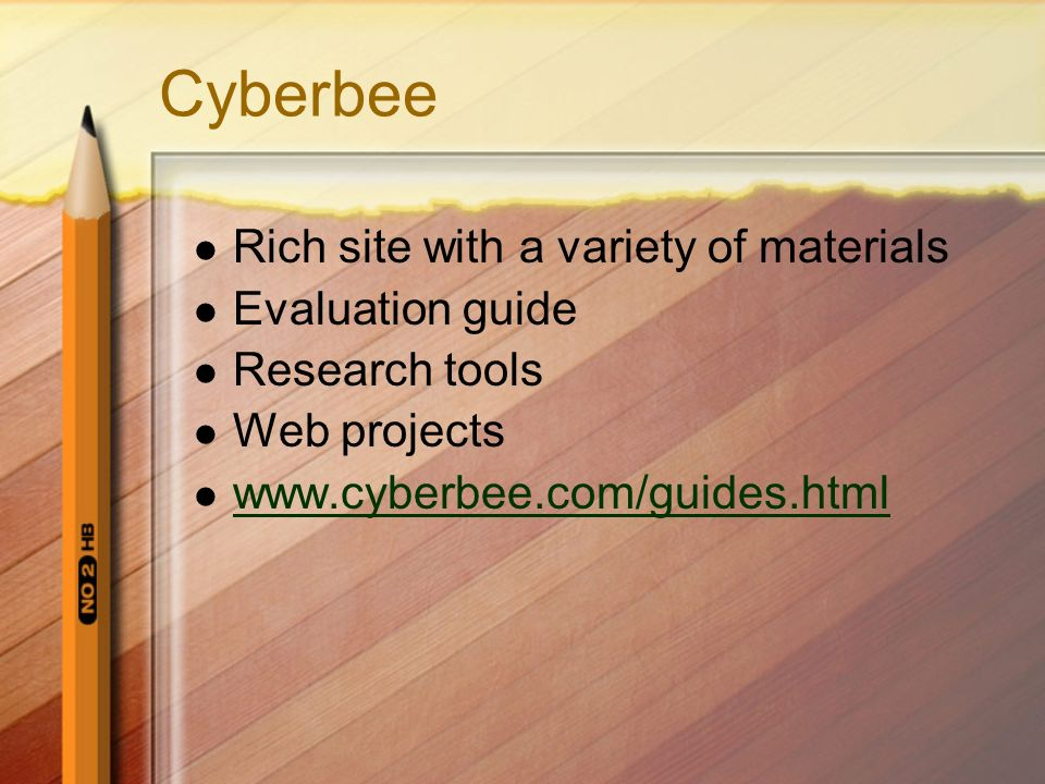 Cyberbee Rich site with a variety of materials Evaluation guide