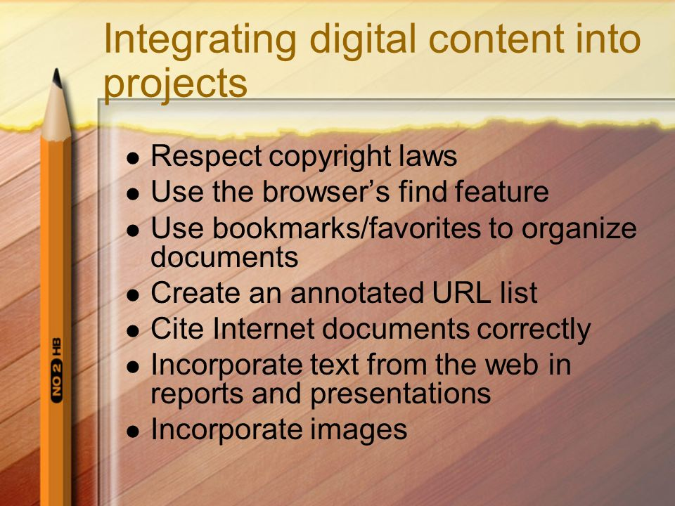 Integrating digital content into projects