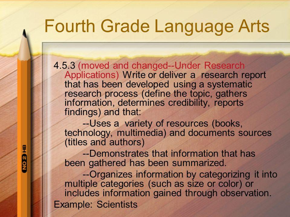Fourth Grade Language Arts