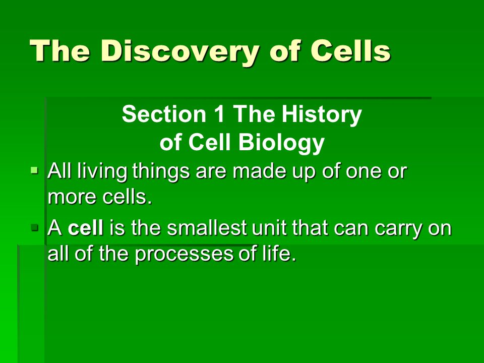 Section 1 The History of Cell Biology