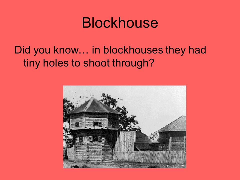 Blockhouse Did you know… in blockhouses they had tiny holes to shoot through