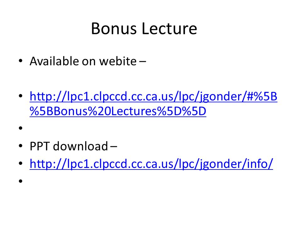Bonus Lecture Available on webite –