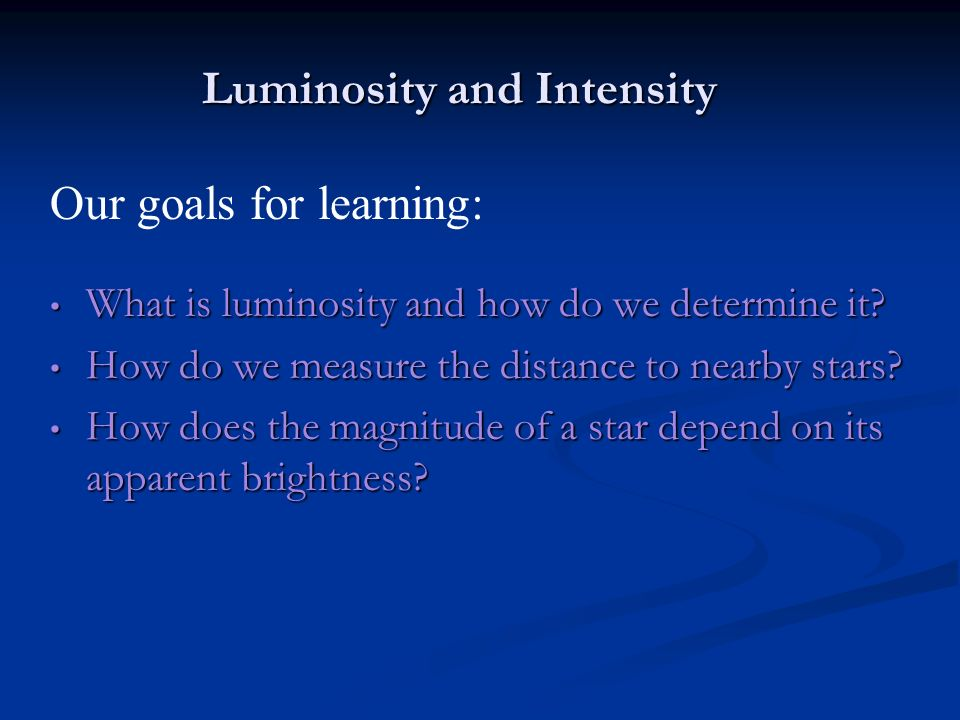 Luminosity and Intensity