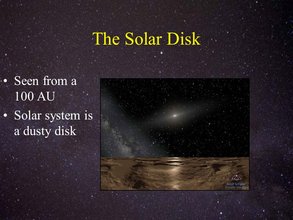 The Solar Disk Seen from a 100 AU Solar system is a dusty disk