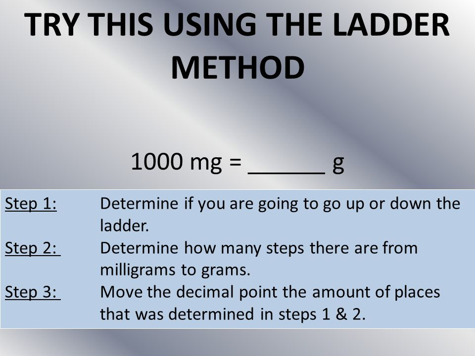 TRY THIS USING THE LADDER METHOD