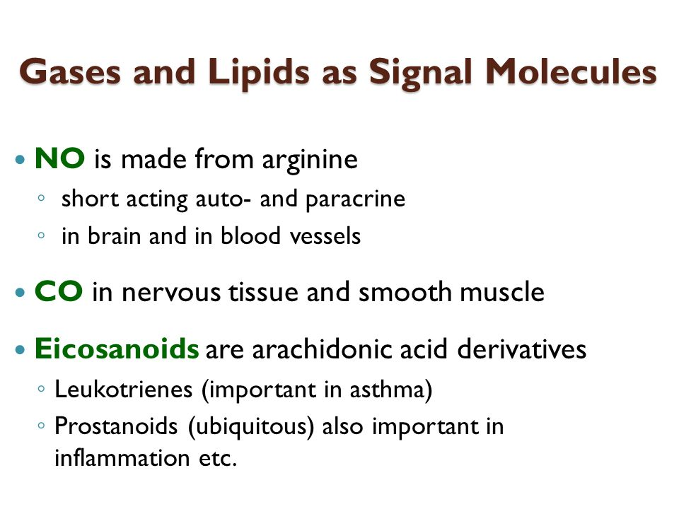 Gases and Lipids as Signal Molecules