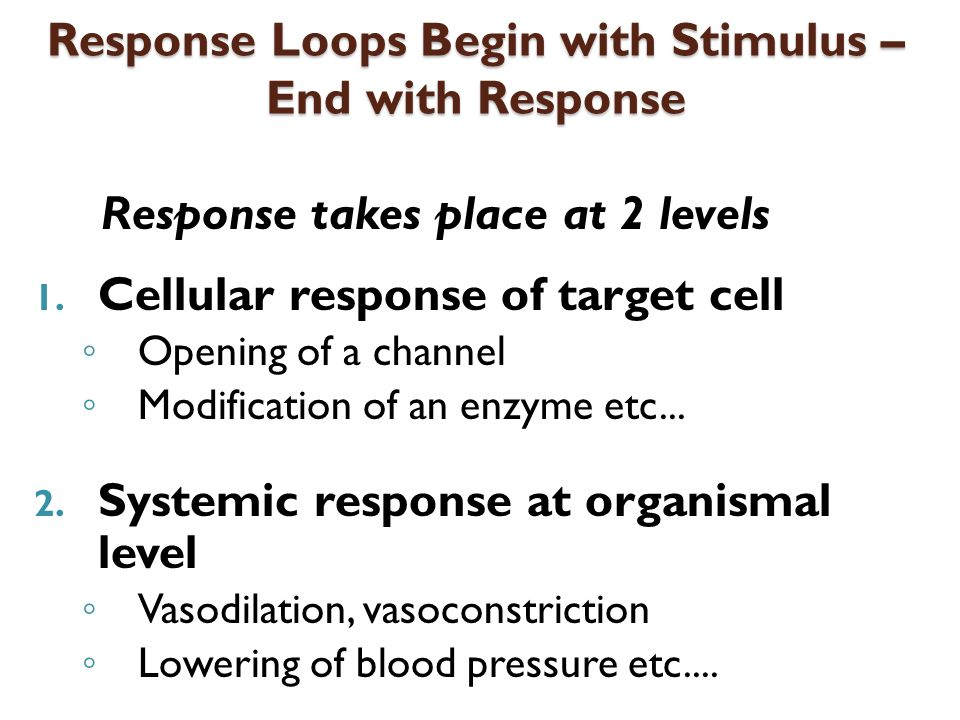 Response Loops Begin with Stimulus – End with Response