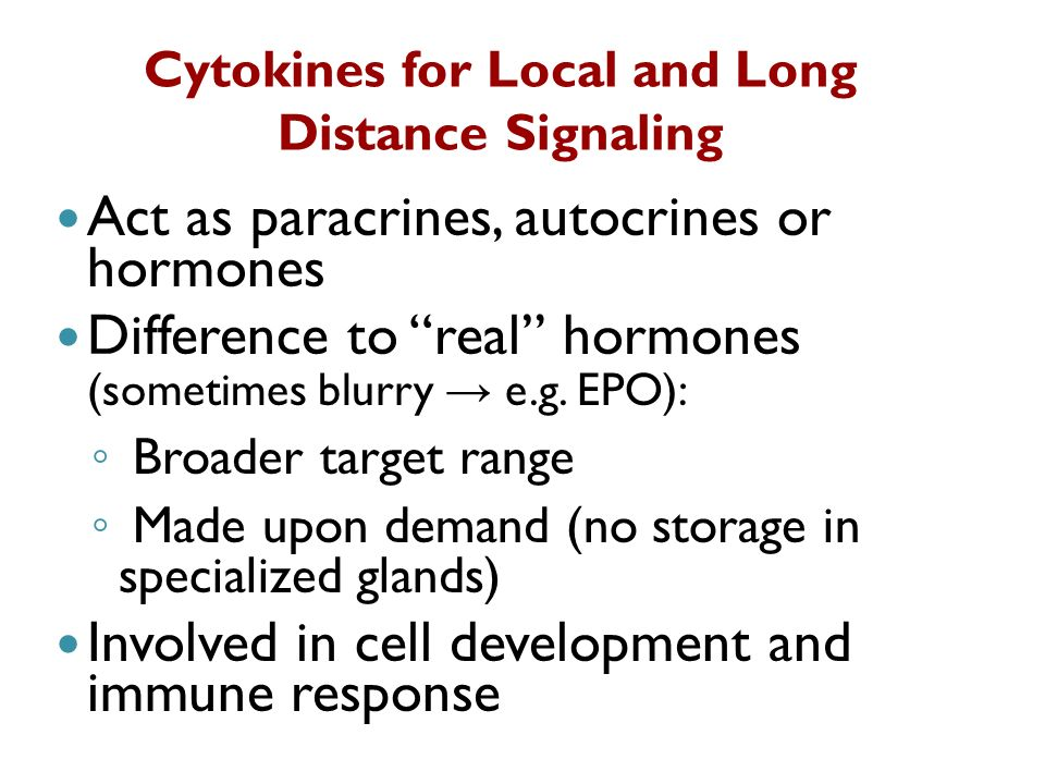 Cytokines for Local and Long Distance Signaling