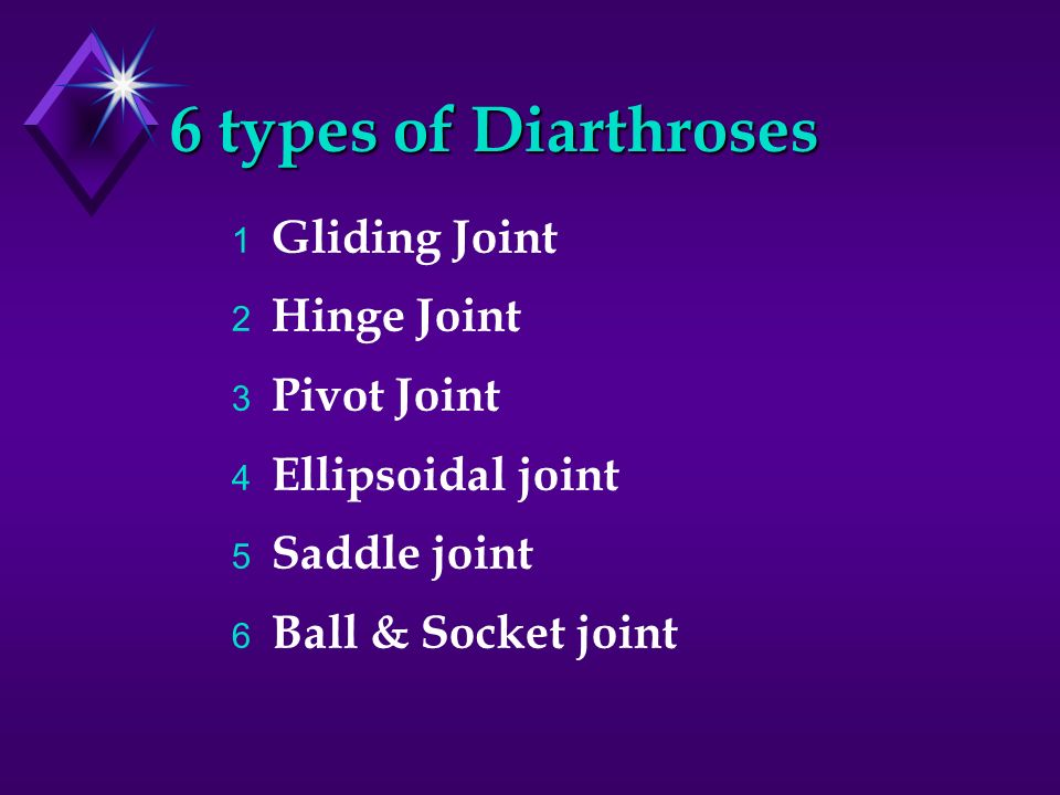 6 types of Diarthroses Gliding Joint Hinge Joint Pivot Joint