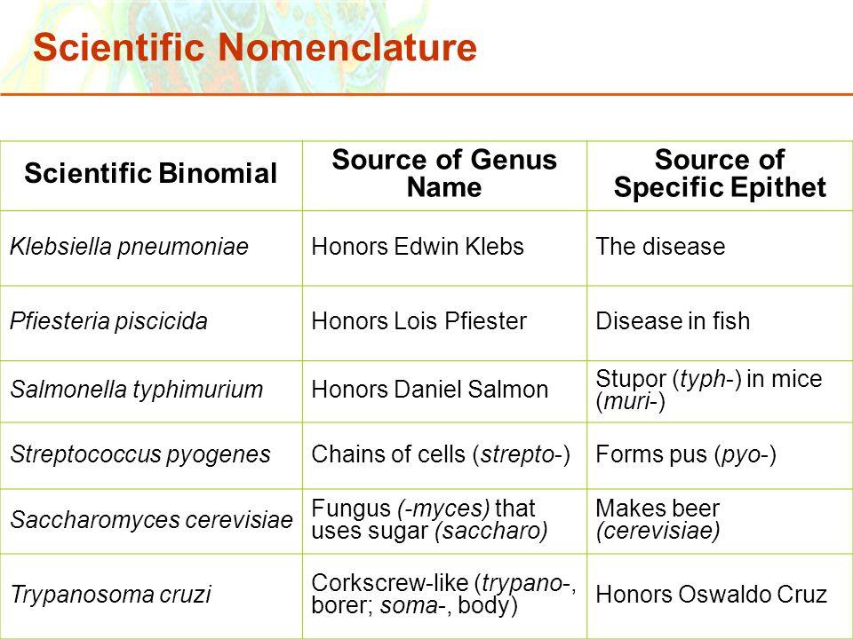 Scientific Nomenclature
