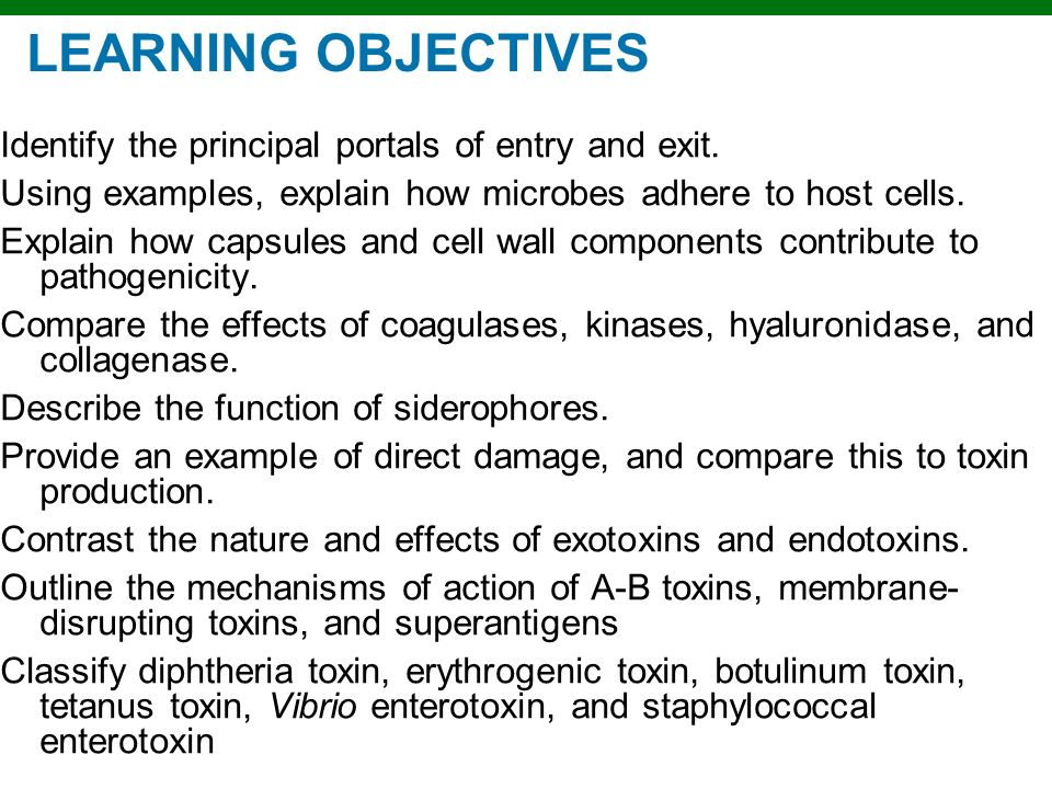 LEARNING OBJECTIVES Identify the principal portals of entry and exit.