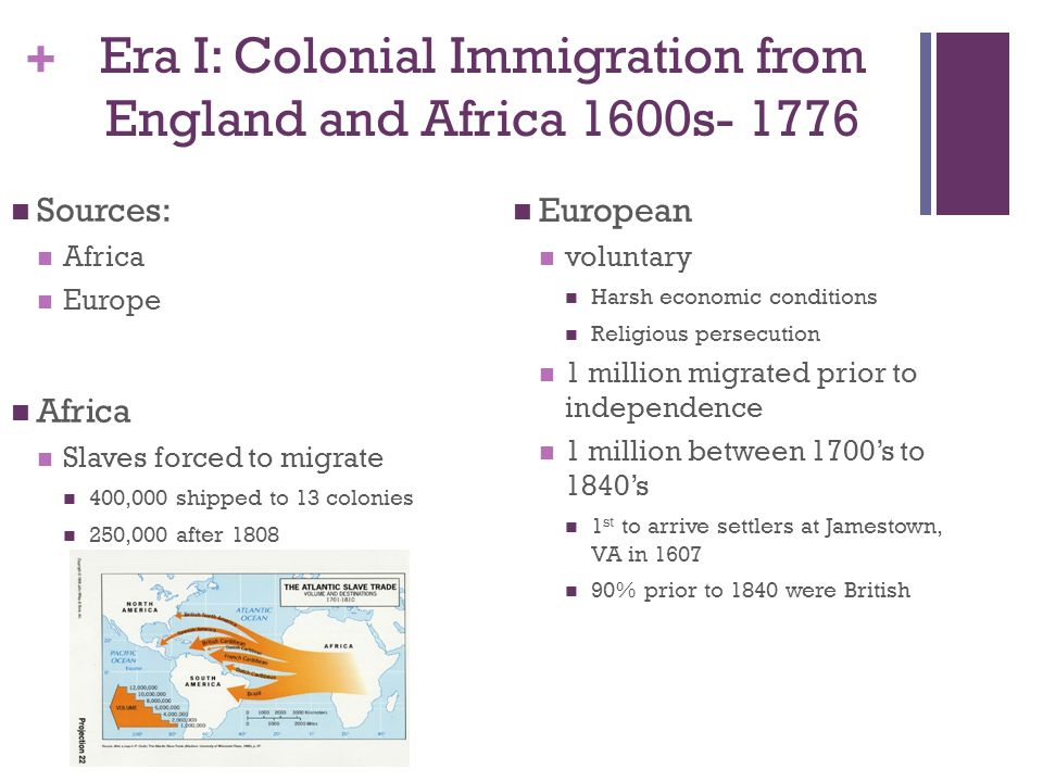 colonial period and immigration Published lists of early immigrants genealogy 105: pre-1820 immigration what is the colonial period colonial immigration encompasses the entire colonial history of the united states african-american colonial immigration.