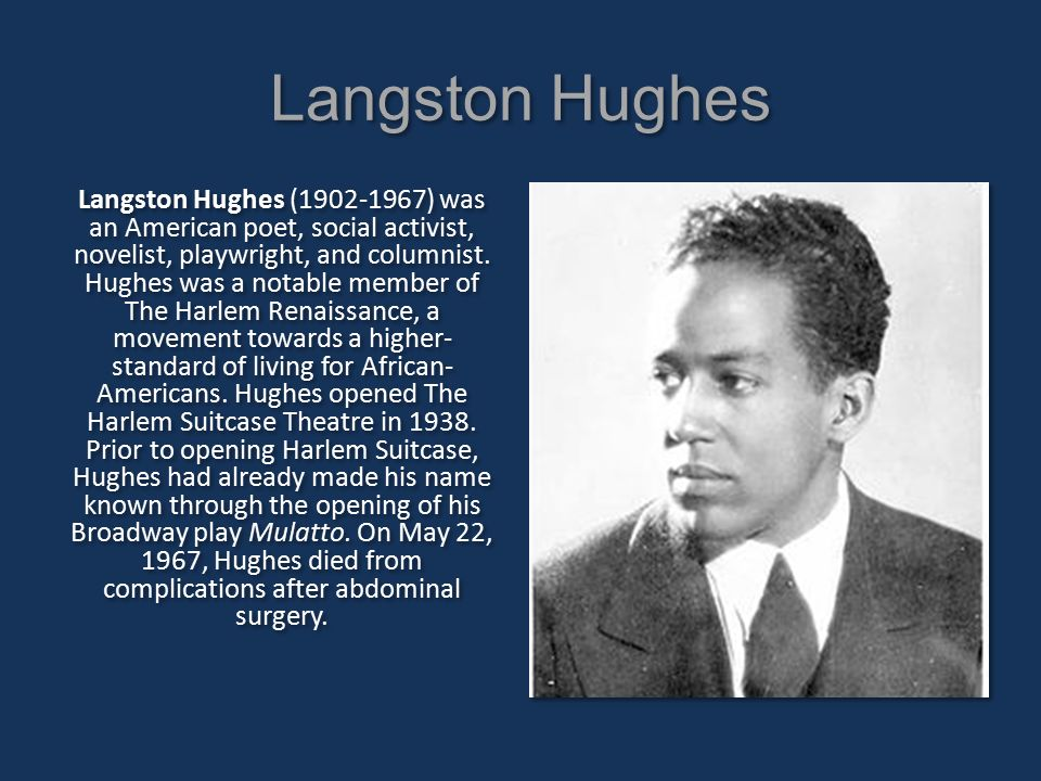 langston hughes an american poet Langston hughes was born february 1, 1902 and died may 22, 1967, was an african-american author the literary pointed he earned most likely influenced the musical experiments of other african-american poets during the 1960's.