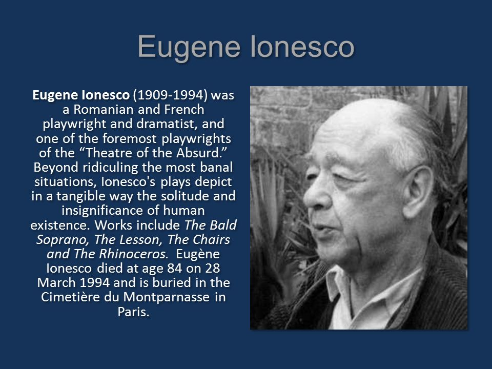 a review of the book rhinoceros by eugene ionesco Eugène ionesco, author of rhinoceros, on librarything eugène ionesco, author of rhinoceros eugene ionescu, eugène ionesco, eugène ionesco, eugène ionesco 2 reviews rhinoceros , the chairs, the lesson (penguin plays & screenplays.