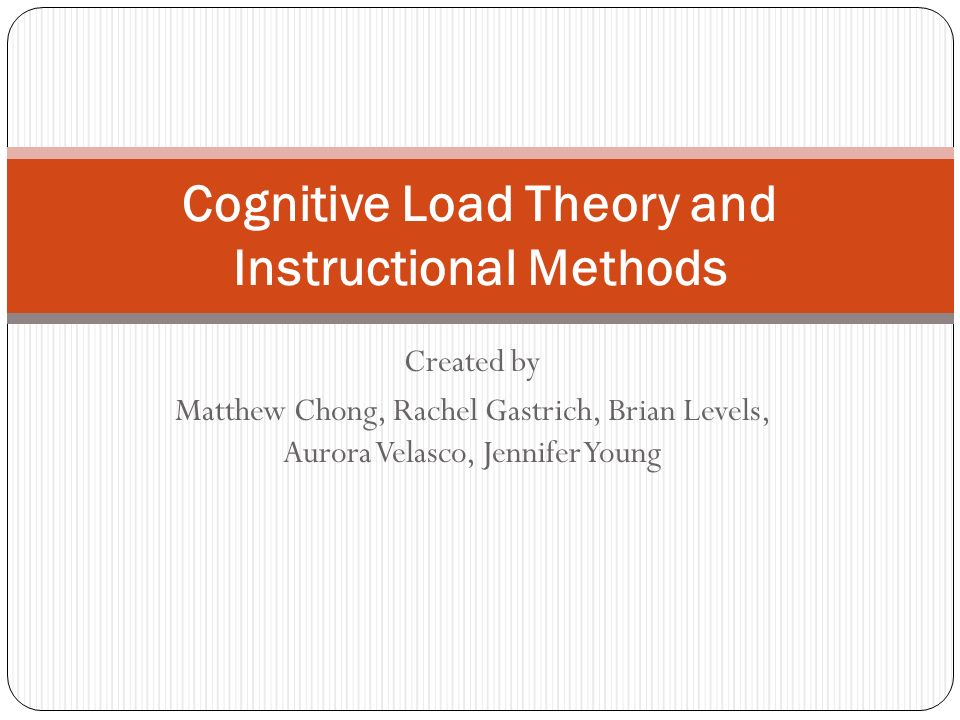 Cognitive Load Theory And Instructional Methods Ppt Video Online Download