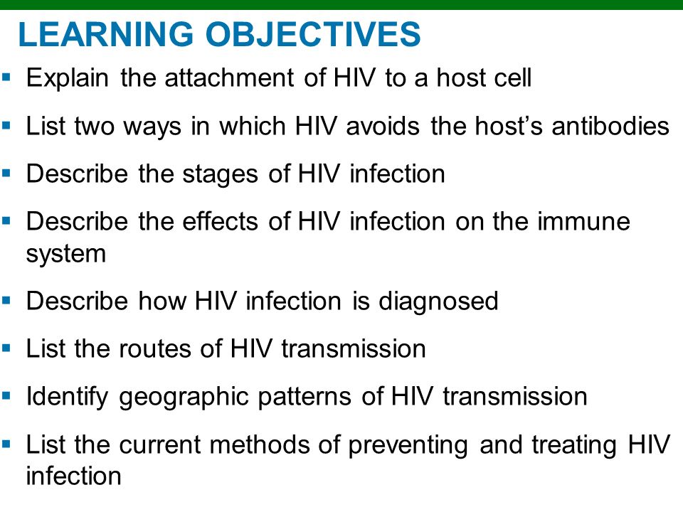 LEARNING OBJECTIVES Explain the attachment of HIV to a host cell