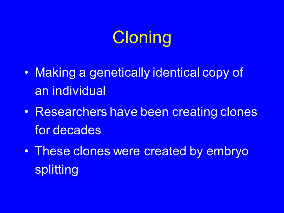 Cloning Making a genetically identical copy of an individual