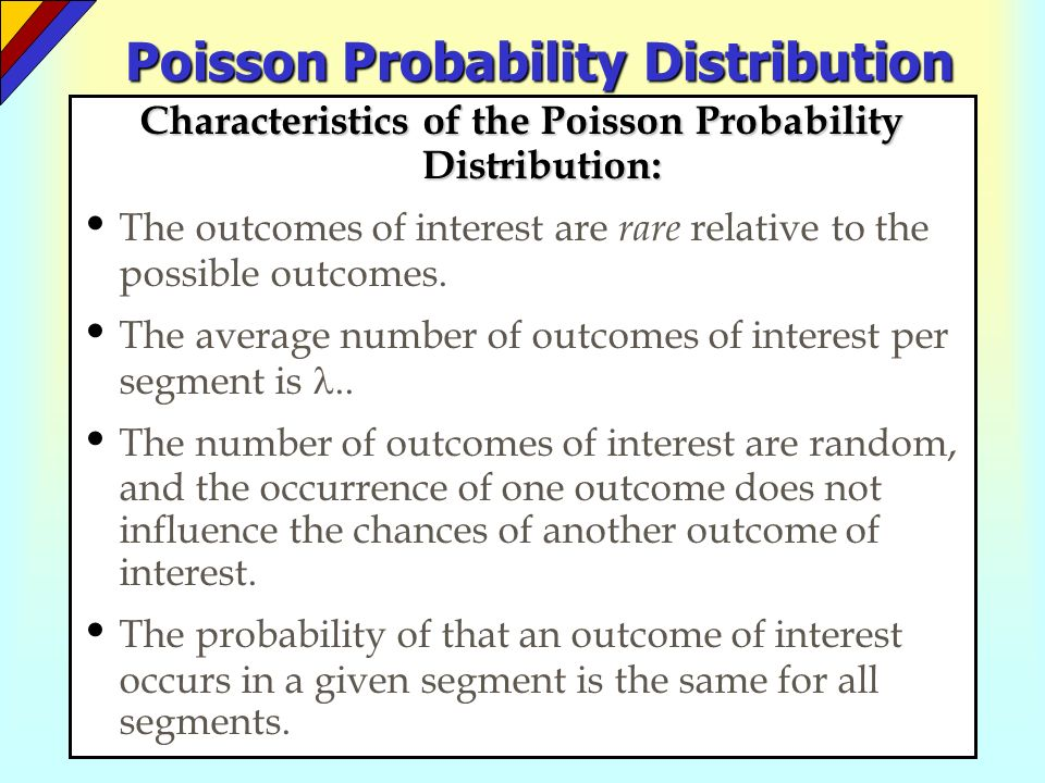 the poisson probability distribution In probability theory, the poisson distribution is a very common discrete probability distribution a poisson distribution helps in describing the chances of occurrence of a number of events.