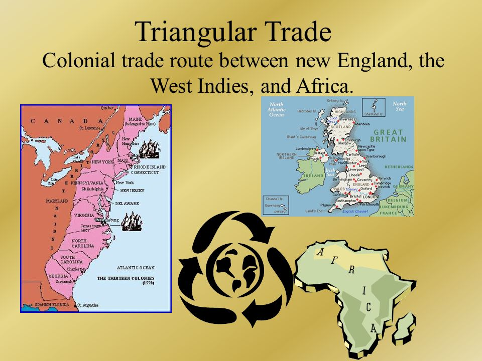 Colonial trade route between new England, the West Indies, and Africa.