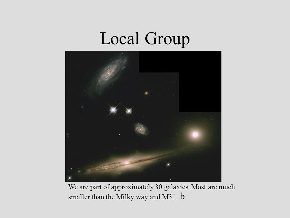 Local Group We are part of approximately 30 galaxies.