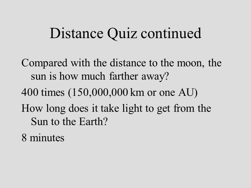 Distance Quiz continued