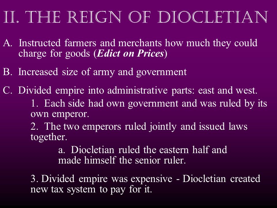 II. The Reign of Diocletian