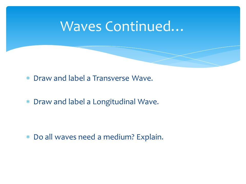 Waves Continued… Draw and label a Transverse Wave.