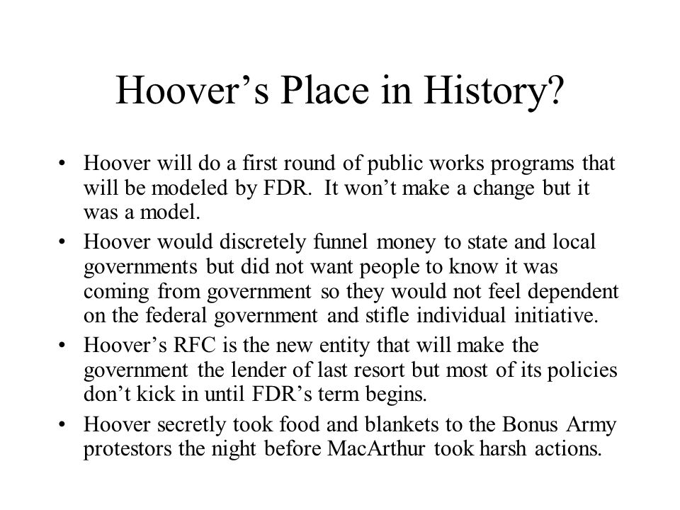 Hoover's Place in History