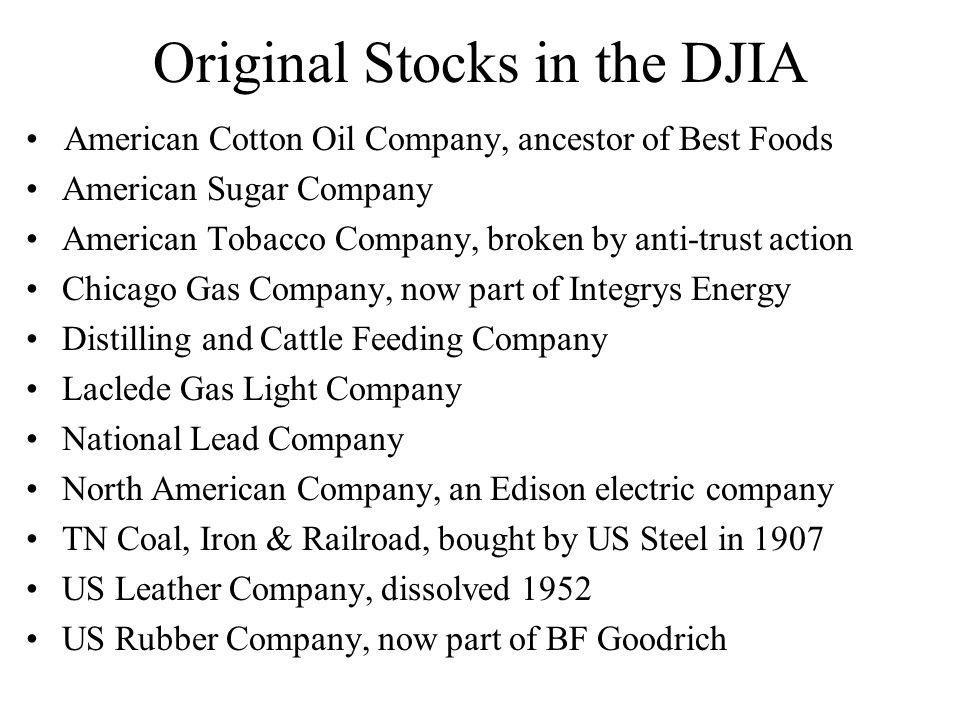 Original Stocks in the DJIA