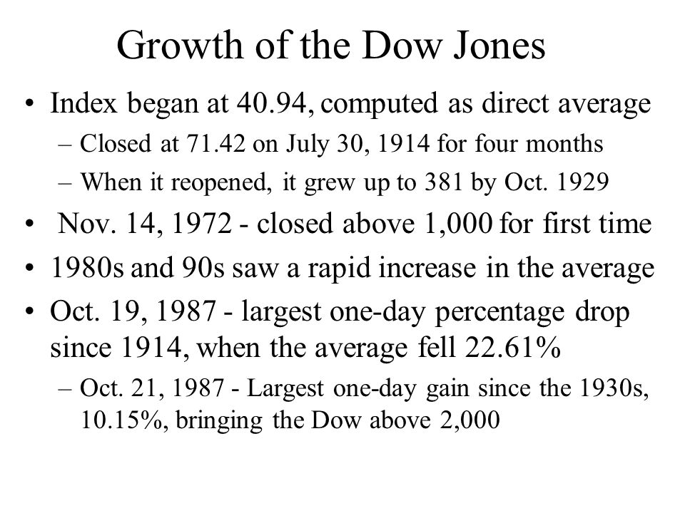 Growth of the Dow Jones Index began at 40.94, computed as direct average. Closed at 71.42 on July 30, 1914 for four months.